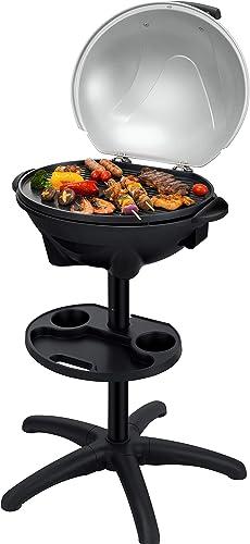 SENYA Barbecue électrique sur pied 2 en 1, barbecue de table avec couvercle détachable, surface de cuisson 44 x33 cm,...