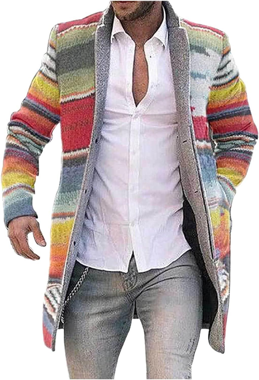 FORUU Winter Jacket For Men 2021 Fashion Plus Size Long Coat Men Cardigan Cute Print Windbreaker Warm Long Jacket