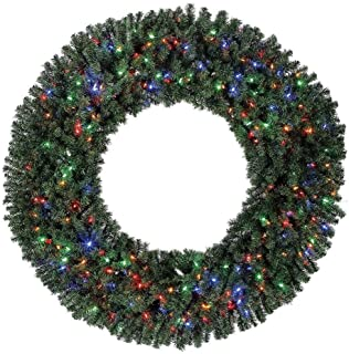 Home Heritage 60 Inch Pre-Lit Holiday Christmas Wreath w/ 300 Color LED Lights and 1180 PVC Tips