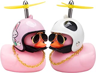 wonuu Rubber Duck Car Dashboard Decorations 5 Pack Pink Duck Car Ornaments Cool Squeaky Glasses Duck with Propeller Helmet...