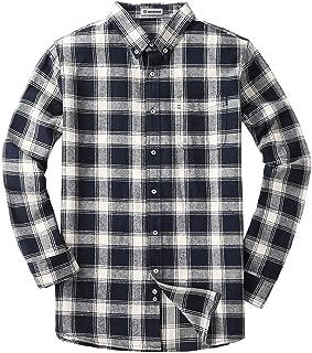 MOCOTONO Men's Long Sleeve Flannel Plaid Dress Shirt Western Button Down Shirts