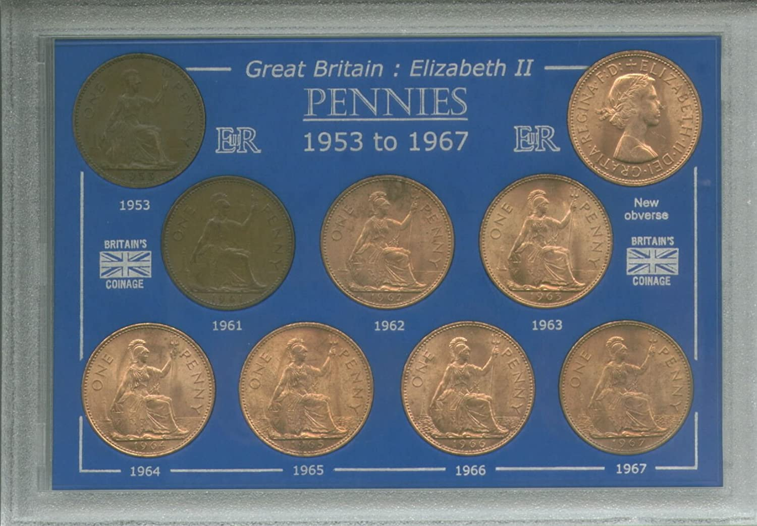 1953-1967 Queen Elizabeth II Pennies Great Britain British Coin Collection Collector Penny Set