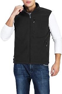 Men's Full-Zip Lightweight Polar Fleece Vest Outerwear with 5 Pockets Warm Winter Sleeveless Jacket Casual