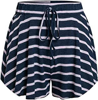 Casual Knitted Striped Women Shorts High Waist Yellow Bottom Vintage Loose Beach Shorts