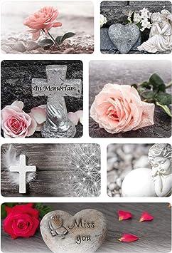 HERMA 15118 Sticker f/ür Trauer Beileid Kirche Kerzen Blumen 14 Traueretiketten Kreuz selbstklebende Aufkleber mit Rosen Herz Motiven in schwarz wei/ß und Farbe