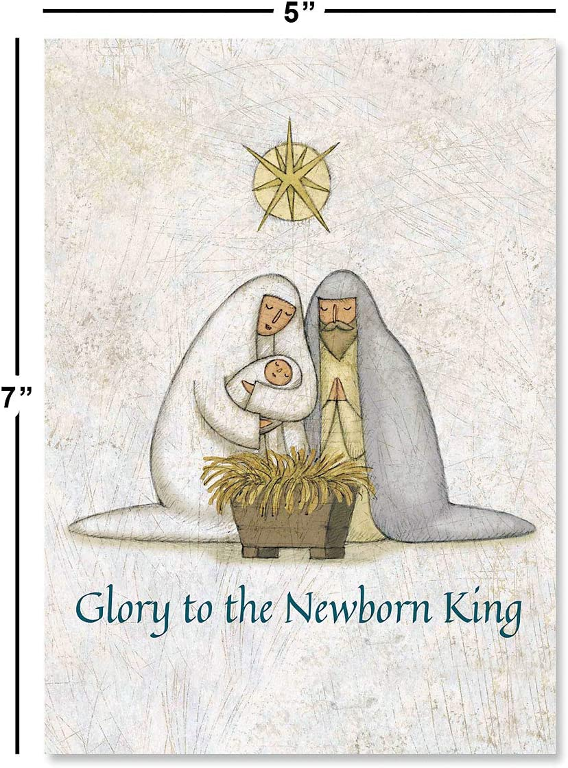 Amazon Com Rejoice Religious Christmas Cards Set Of 18 Religious Themed Holiday Card Large 5 X 7 Inch Size Envelopes Included Office Products