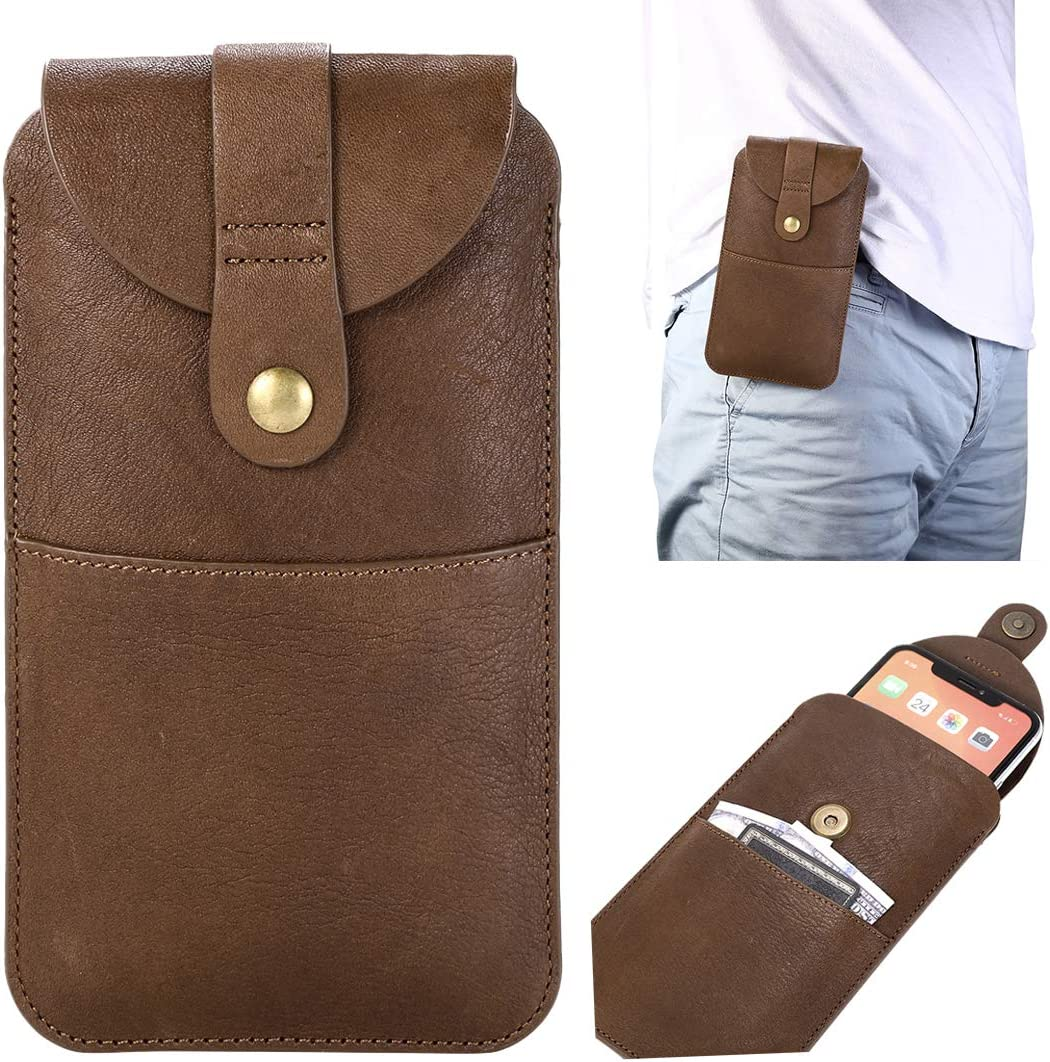 JIJIAO for Samsung Galaxy A71 5G/A51 Genuine Leather Holster for 11 Pro Max, iPhone Xs Max 7 Plus 8 Plus 6s Plus Phone Holsters for Men Belt Cell Phone Pouch Built in ID Card Slot