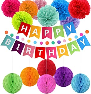pushang - Birthday Decorations, Colorful Birthday Party Decoration for Adults Kids,Birthday Supplies - Happy Birthday Banner,Paper Garland,Lantern for Decor