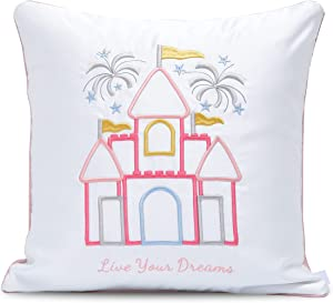 Personalizable Fairy Tale Theme Princess Decorative Pillow Throw Cover 18x18 White Pale Pink 3D Embroidery with Quote Live Your Dreams Girl Room Bed Nursery Decor Cinderella Castle