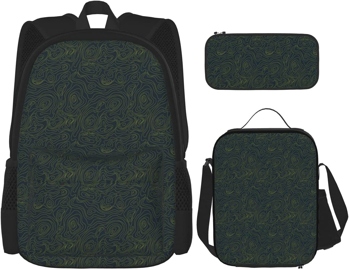 Backpack Bags Topography Black Bag Lunch Po Pencil with Max 76% OFF Case Be super welcome
