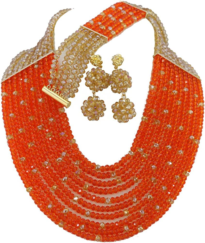 Africanbeads 10 Rows Los Angeles Mall African Beads Jewelry High quality Set Wedding Nigerian