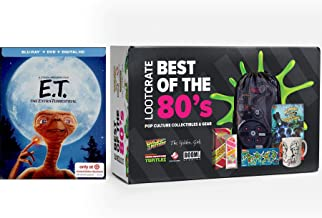 Greatness Gear 80's Alien Stephen Spielberg E.T. Exclusive Steelbook Special Movie & Loot Crate Best of Pop Culture Movie Bundle Collectibles from back Future / Ghostbusters / Golden Girls & TMNT Set