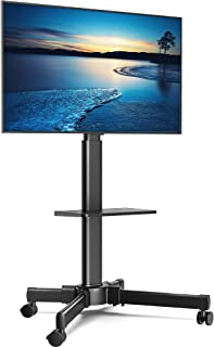 """FITUEYES Mobile TV Stand with Wooden Laptop Shelf Rolling TV Cart for 27""""-55"""" LCD LED Plasma Flat Curved Screen, Tilt & He..."""