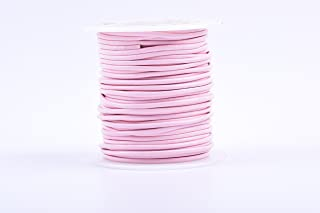 KONMAY 25 Yards Solid Round 2.0mm Pink Genuine/Real Leather Cord Braiding String (2.0mm, Pink)