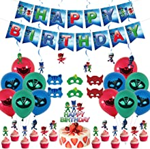 PJ Mask Party Decoration PJ Mask Party Supplies Birthday Party Favors Package Contains Tableware Plates Foil Latex Balloons Cake//Cupcake Toppers Banner Pennant PJ Mask Favor Birthday Decor