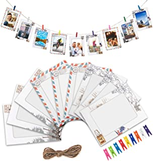 LEJHOME Paper Picture Frames 27pcs DIY Photo Frames for 4x6in Picture Wall Decor Hanging Photo Hanging Display Frames with 27 Clips and 3 Ropes for Home College and Office