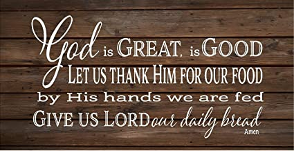CELYCASY God is Great God is Good Give us Lord Our Daily Bread Amen - Cartel de Madera o Lienzo