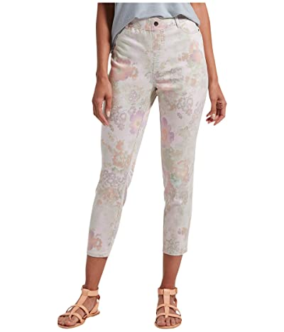 HUE Pastel Floral Ultra Soft Denim High-Waist Capris (White Floral) Women