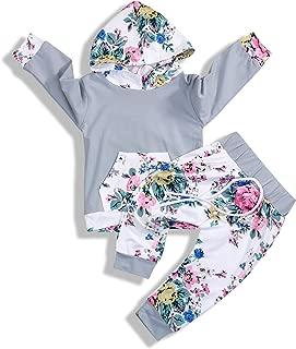 GSHOOTS Newborn Baby Girls' Floral Pants Set Long Sleeve Pocket Hoodie + Pants
