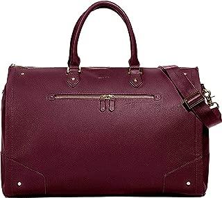 Hook & Albert Women's Bordeaux Leather Garment Weekender bag
