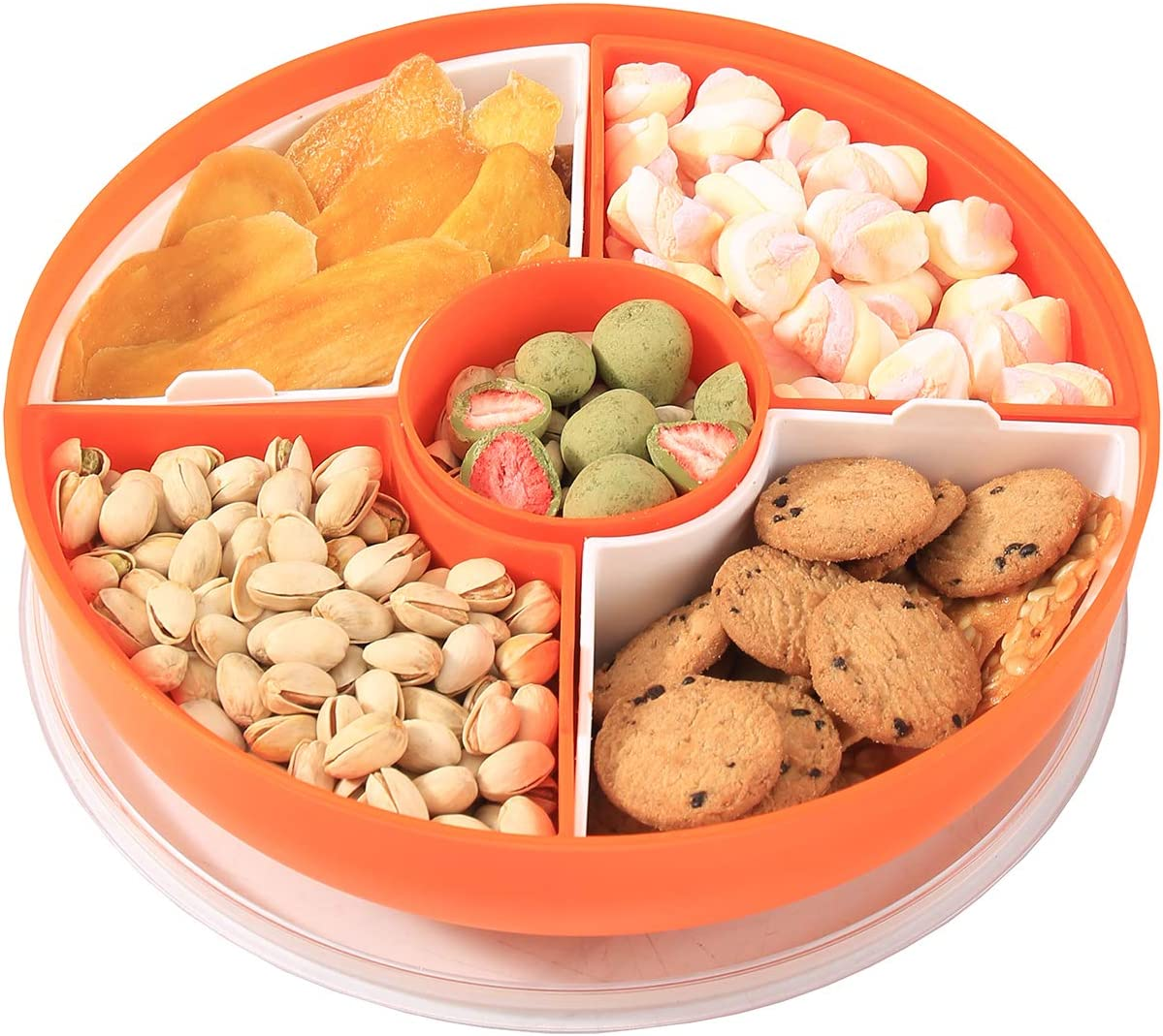 XKXKKE Divided Serving Dishes with Lid,Serving Bowls,Multifunctional Party Snack Tray for Fruits,Nuts,Candies,Crackers,Veggies (Orange)
