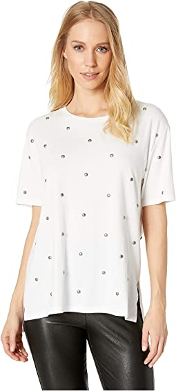 Knit Dome Stud Embroidered Tee