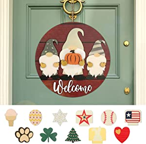 Seasonal Gnome Welcome Door Sign, AXUAN Door Hanger Porch Hanging for Home Decoration, Outdoor Holiday Decoration for Spring Summer Fall Winter 14 Pieces Hanging Ornaments-Punch-Free Burlap(Walnut)