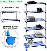 Dhani Creations Plastic Steps and Powder Coated Rods Multipurpose Utility Rack for Shoes, Clothes, Books (Blue) -6 Step