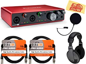 Focusrite Scarlett 8i6 3rd Gen 8-in, 6-out USB Audio Interface Bundle with Headphones, Pop Filter, 2 XLR Cables, and Austin Bazaar Polishing Cloth