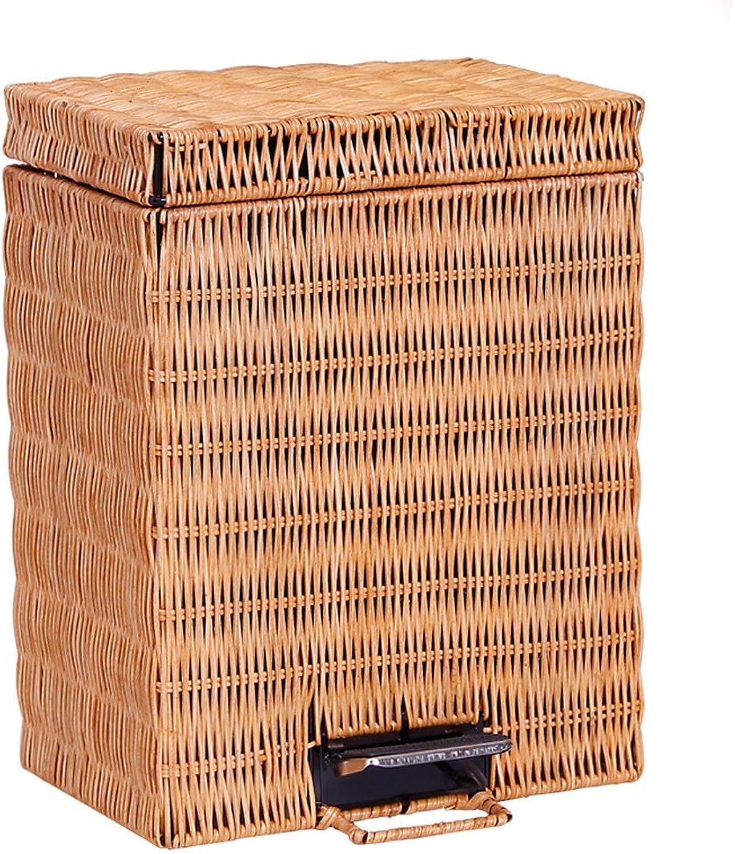FAMILI DA Rechteckiger Papierkorb aus Bambus und und und Rattan Home Office mit Pedal Lidded WC Creative Flip 5L Papierkorb (Farbe  Braun, Größe  5L) (Farbe  Hellbraun) Hellbraun B07P8YFHK3   Zart  dbd271
