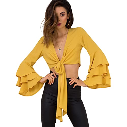 8d7eae9fa64a45 Simplee Apparel Women s V Neck Long Sleeve Ruffle Tie Front Crop Top Blouse  Shirt