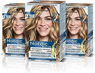 Schwarzkopf Nordic Blonde M1 Mechas Radiantes (Pack de 3) – Coloración permanente – Aclara hasta 6 tonos - Con aceite acti...