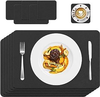 Set de Table, 6 Set de Table Cuir, PVC Antidérapant Lavable Résiste Chaleur Rectangulaire Sets de Table, Facile à Nettoyer...