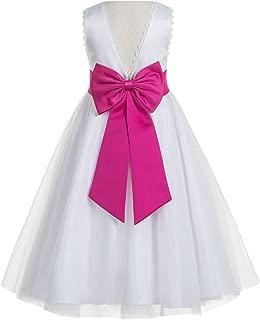 V-Back Lace Edge White Flower Girl Dresses Baptism Dress Birthday Girl Dress Ball Gown 183T