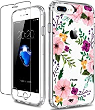 GiiKa iPhone 8 Plus Case, iPhone 7 Plus Case with Screen Protector, Clear Heavy Duty Protective Case Floral Girls Women Ha...