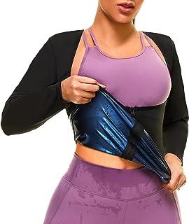 ALVAGO Sauna Suit for Women Sweat Jacket Waist Trainer Long Sleeve Sauna Shirt Body Shaper Workout Top Zipper