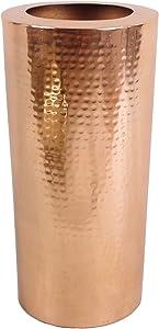 Leaf Design UK Vaso Grande 15x 30cm Alta martellato Metallo Colore Rame Antico, 30cm