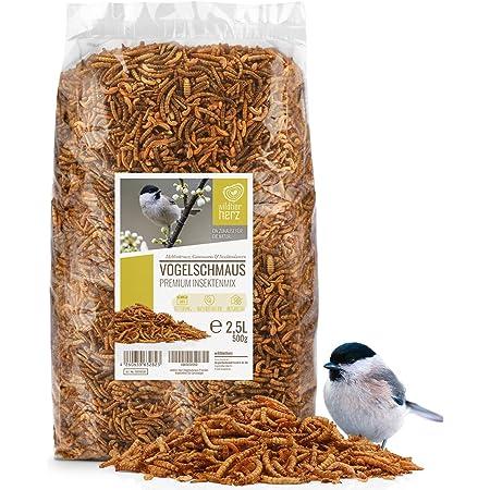 Coeur d'animal Sauvage | Fête des Oiseaux - Nourriture pour Oiseaux de Première Qualité - 2,5 litres vers de Farine Séchés d'oiseaux