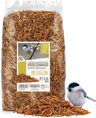 wildtier herz I Alimentación para Pájaros - Insectos Premium 2.5 litros I Gusanos de Harina Secos - Comida de Aves pa...