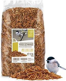 Coeur d'animal Sauvage | Fête des Oiseaux - Nourriture pour Oiseaux de Première Qualité - 2,5 litres vers de Farine Séchés...