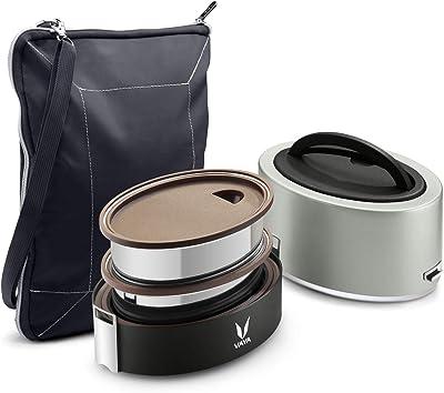 Vaya Tyffyn 保温ランチボックス 真空断熱弁当箱 バッグマット付き 600 ml 容器2個 (シルバー, 磨かれたステンレススチール)