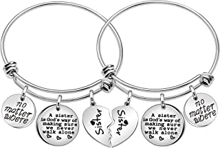 No Matter Where Sister Bracelets 2 Pcs Broken Heart Round Charm Bangles for Sister Daughter