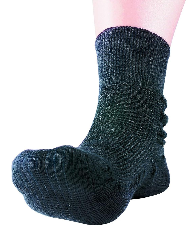 クリスマス機関車牧師つま先上がり足裏健康靴下 Sブラック