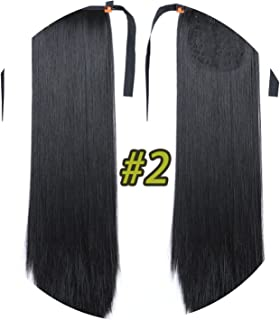 world-palm 10 Colors 22'' Long Straight Drawstring Ponytail Black/Blond Heat Resistance Hairpiece Clip In Hair Extension For Woman,2,26inches