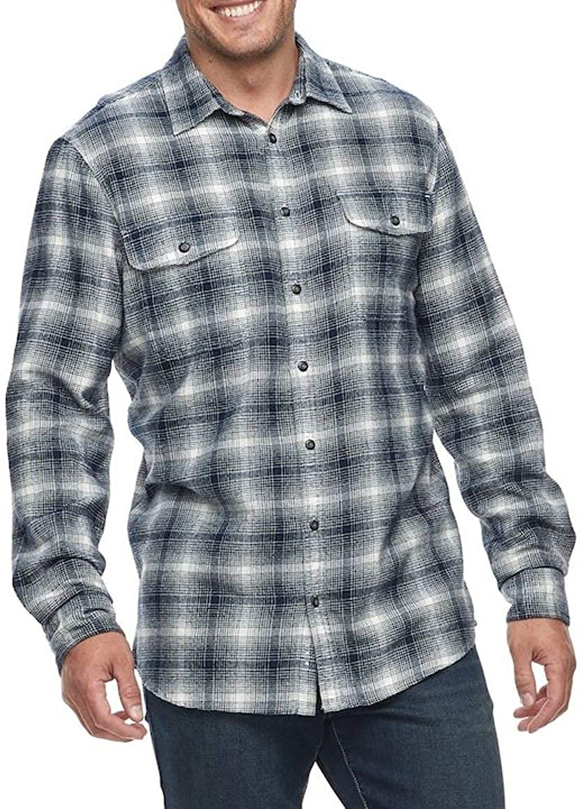 Sonoma Men's Classic Fit Flannel Shirt Navy White Ombre Plaid Long Sleeves 2 Pockets