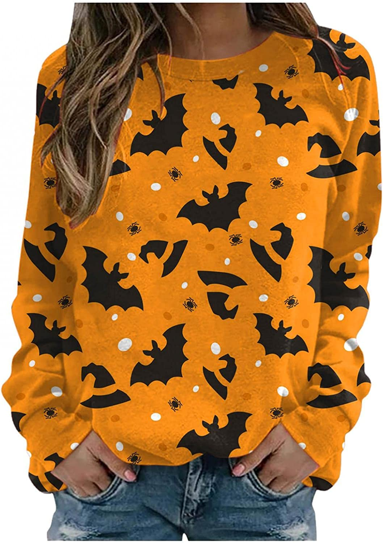 FABIURT Halloween Shirts for Women,Womens Fashion Bat Print Long Sleeve Crew Neck Sweatshirt Casual Pullover Blouse Tops