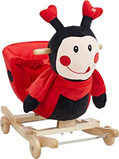 Dporticus Child Rocking Horse Plush Ladybug Rocker Toy with Wheels and Seat Belt Wooden Rocking Horse/Kid Rocking Toy/Baby Rocking Horse/Rocker/Animal Ride On