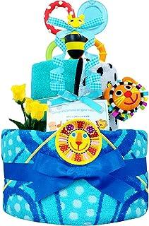 おむつケーキ [ 男の子/Sassy : サッシー / 2段 ] パンパース S22枚 (出産祝い に Sサイズ)3001 ダイパーケーキ 赤ちゃん ベビーシャワー ギフト 誕生日プレゼント