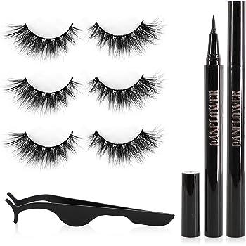 Lanflower Eyelashes with Eyeliner, 3D mink Lashes look, Glue Free No Magnetic Lashes, Waterproof Liquid Eyeliner Kit