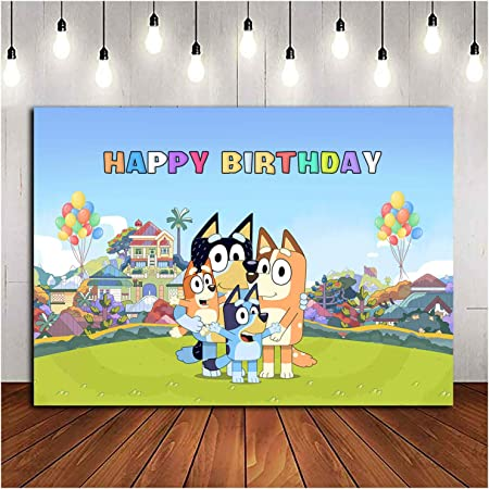 Cartoon Sheepdog Cake Decor Suppliers for Photo Booth Props Baby Shower Happy Birthday Bluely Themed Party Cake Topper Decoration for Boys Girls Kids Birthday Icasy Bluely Birthday Party Cake Topper